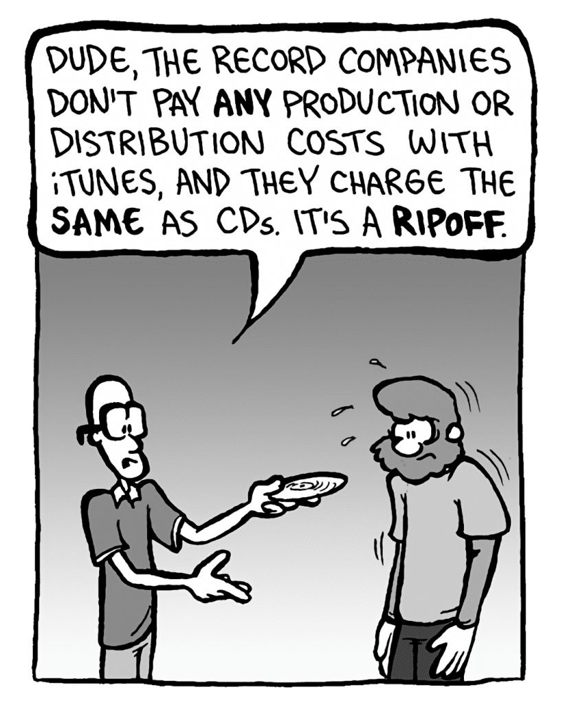BRETT: Dude, the record companies don't pay any production or distribution costs with iTunes, and they charge the same as CDs. It's a ripoff.