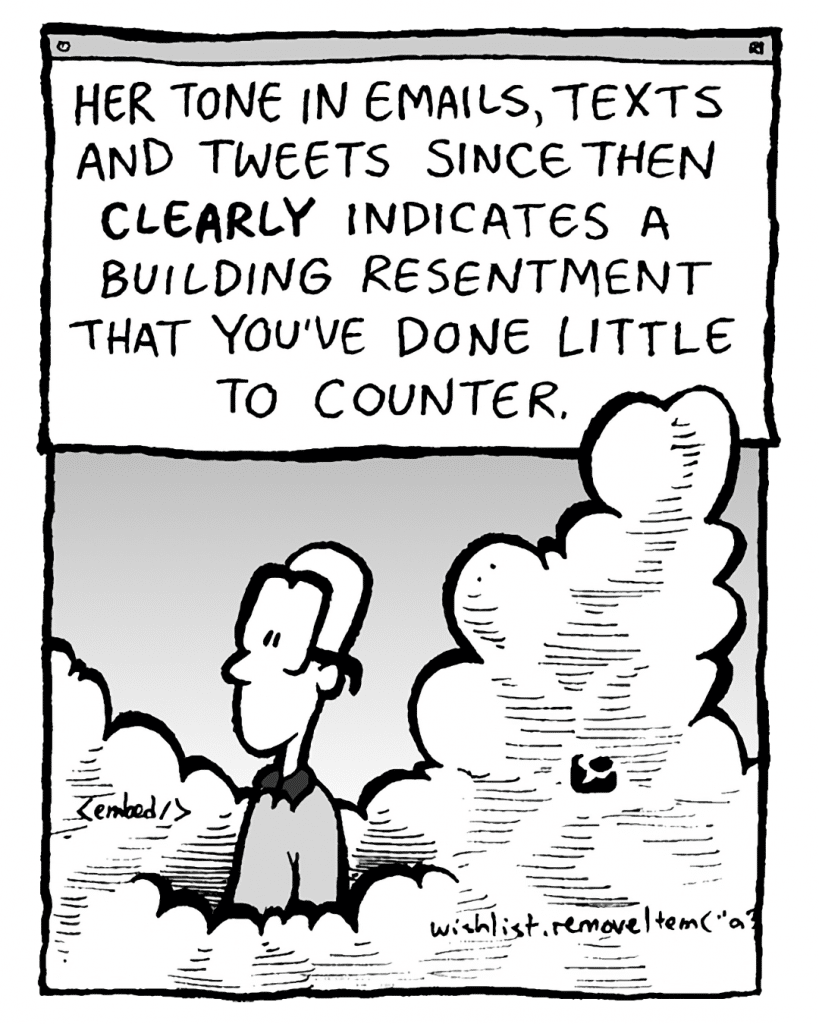 THE CLOUD: Her tone in emails, texts and tweets since then CLEARLY indicates a building resentment that you've done little to counter.